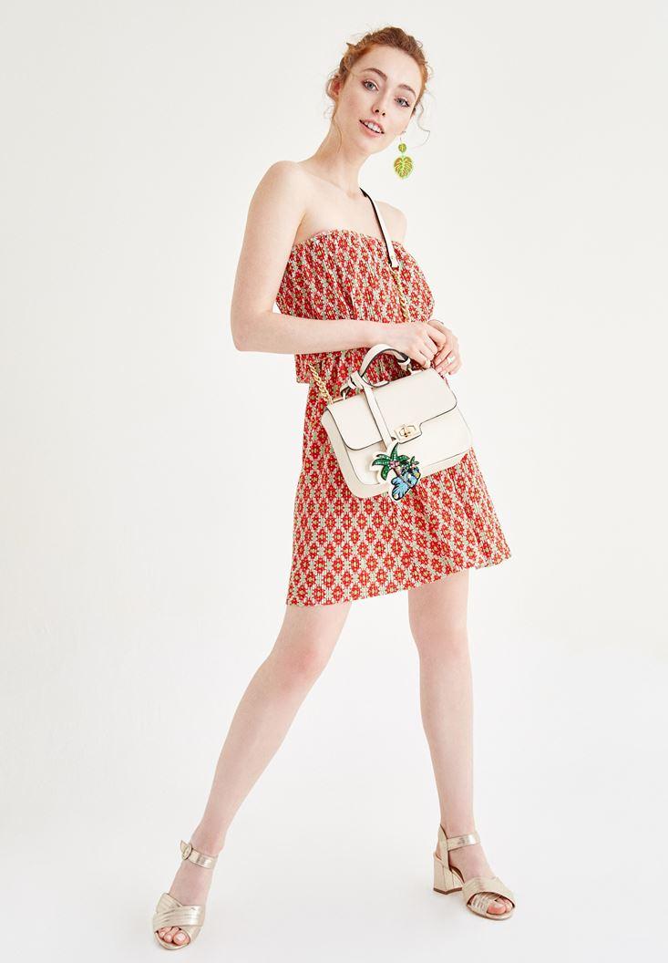 Çok Renkli Straplez Elbise