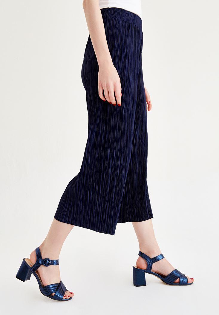 Bayan Lacivert Pilili Pantolon