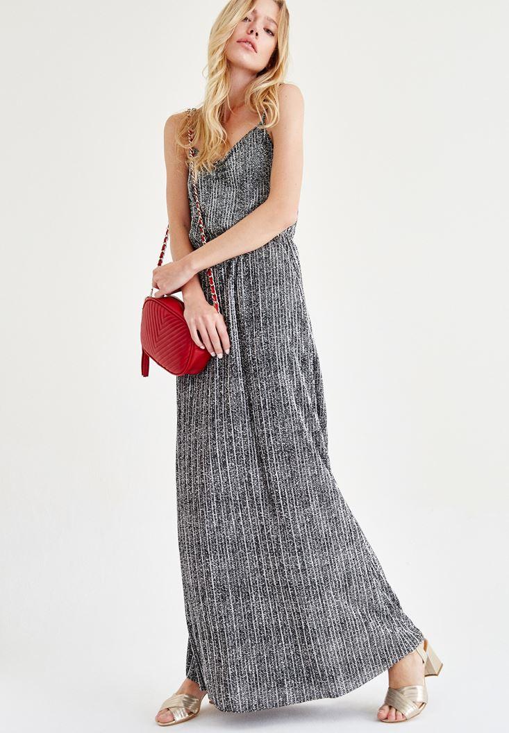 Bayan Siyah Askılı Uzun Elbise
