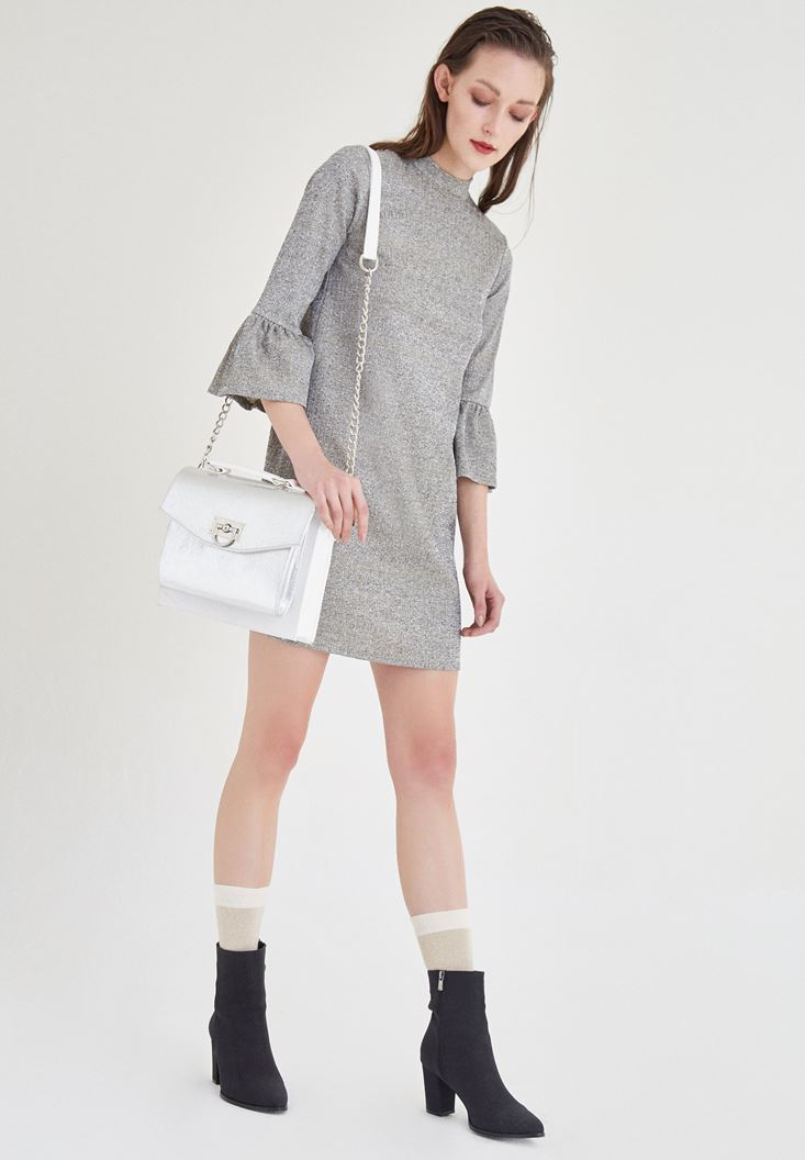 Grey Dress With Sleeve Detailed