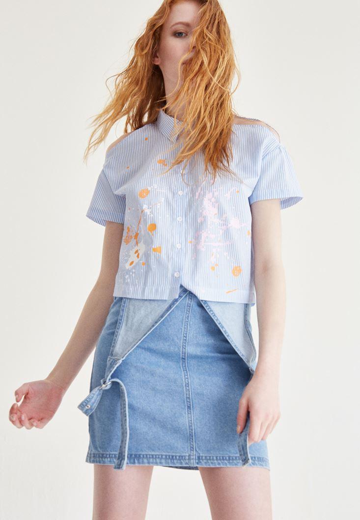 Bayan Mavi Omuz Detaylı Gömlek