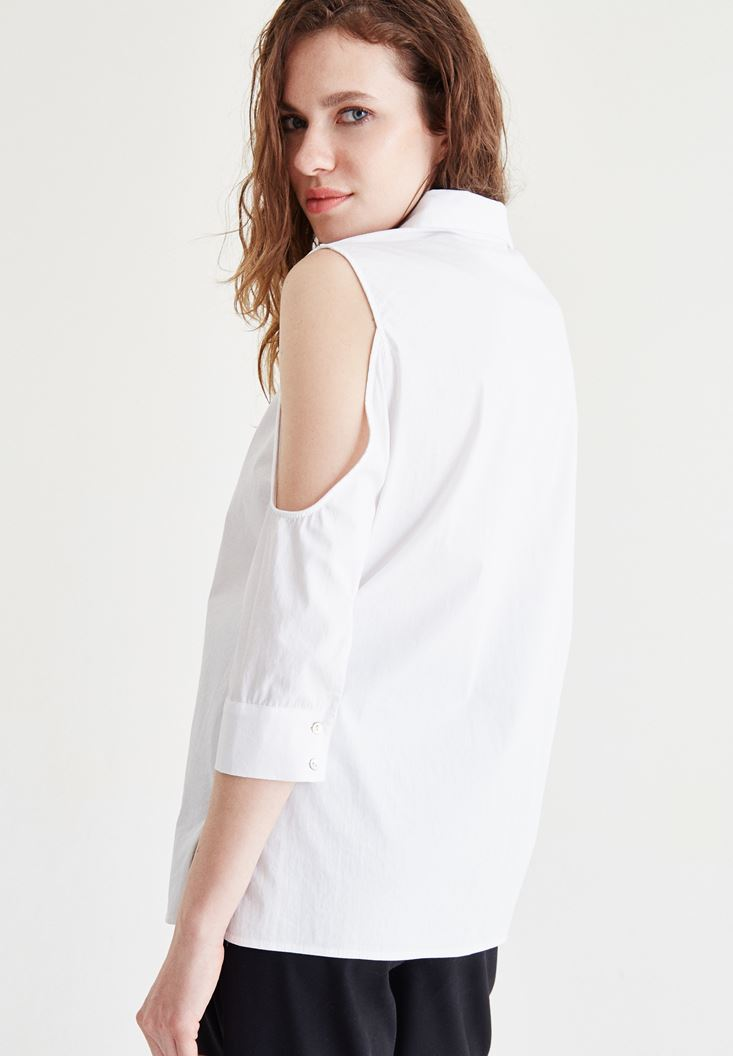 Bayan Beyaz Omuz Detaylı Gömlek
