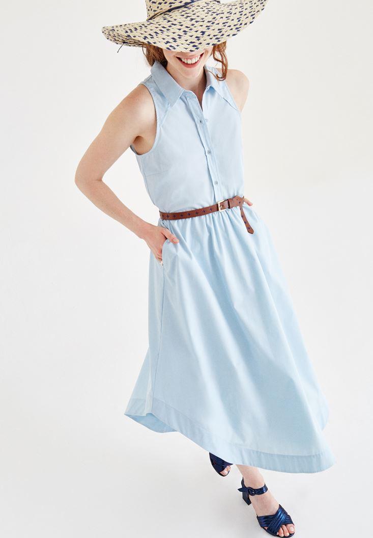 Mavi Kolsuz Düğmeli Elbise