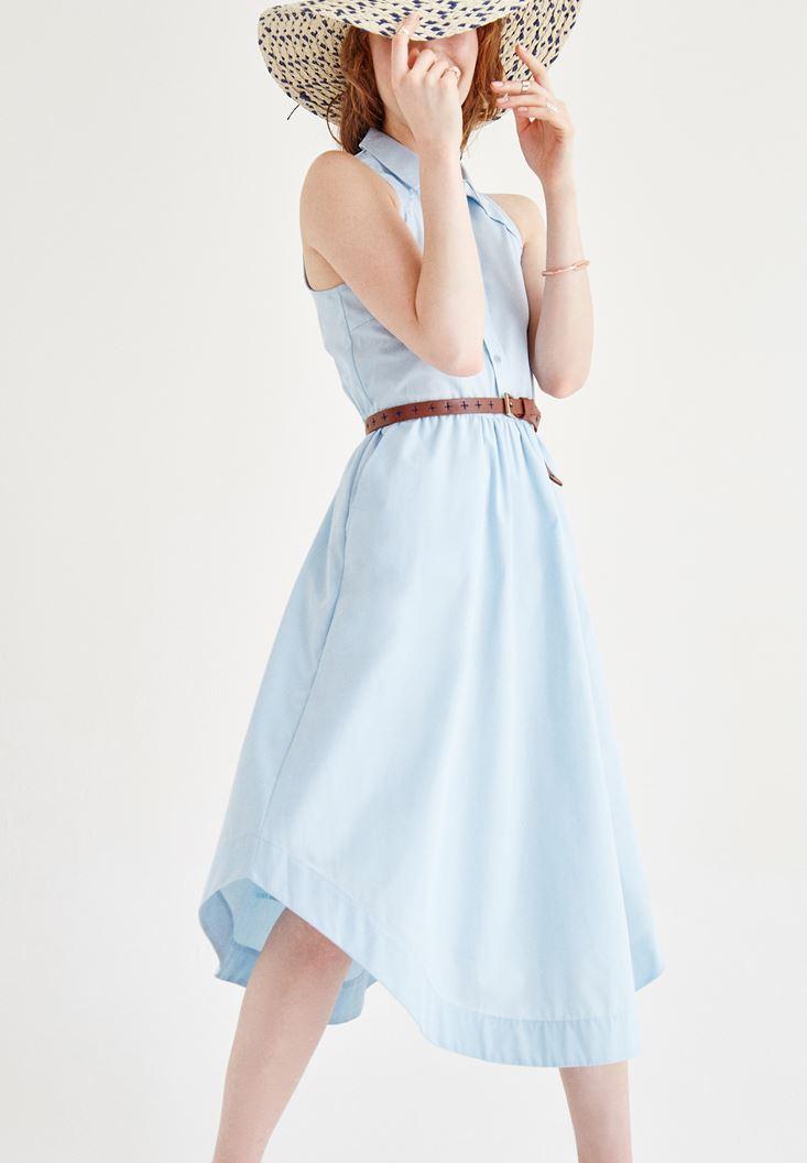 Bayan Mavi Kolsuz Düğmeli Elbise
