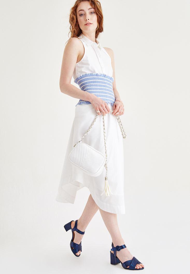 Beyaz Kolsuz Düğmeli Elbise
