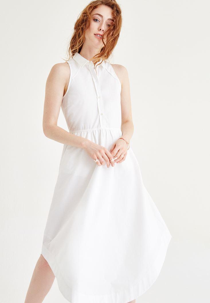 Bayan Beyaz Kolsuz Düğmeli Elbise