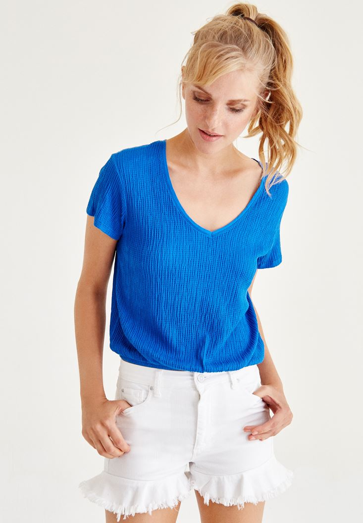 Blue Blouse With Streched Waist