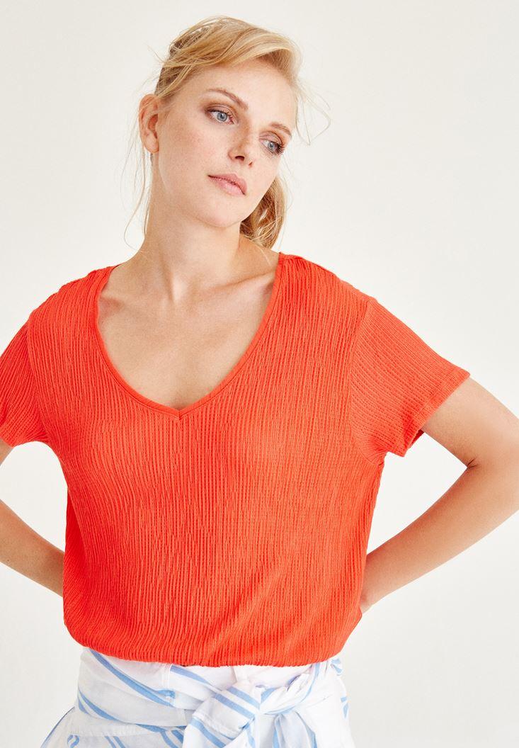 Kırmızı V Yaka Beli Lastikli Bluz