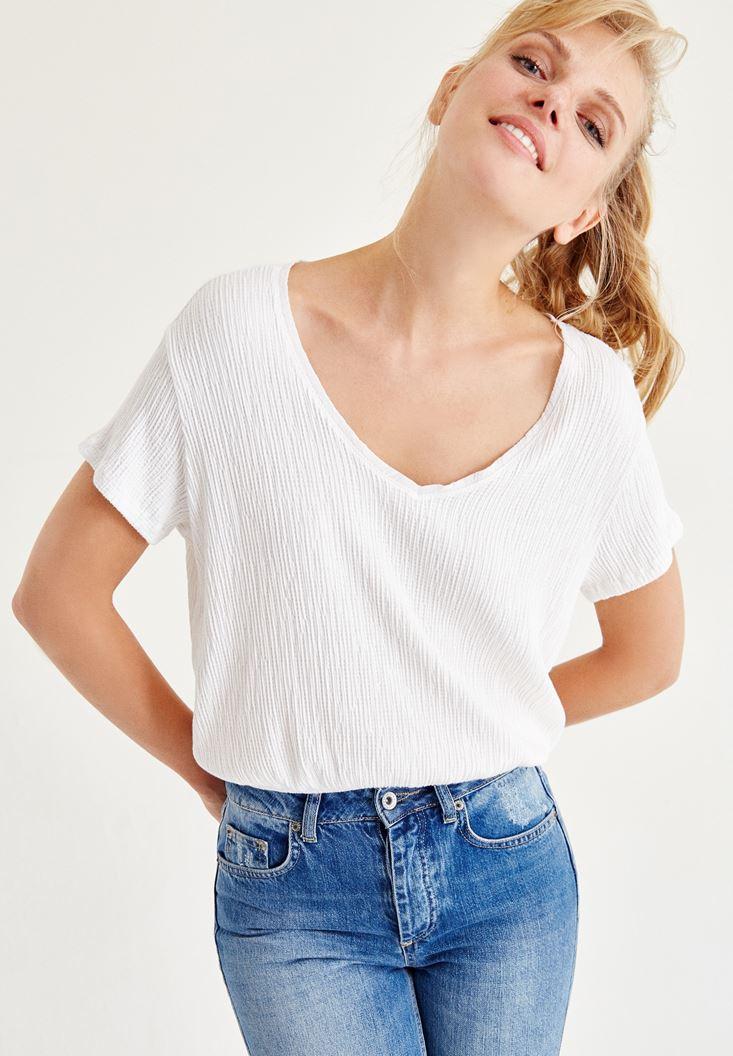 Beyaz V Yaka Beli Lastikli Bluz