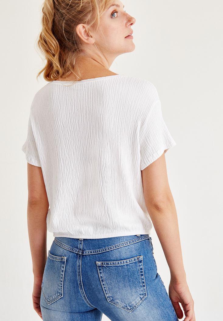 Bayan Beyaz V Yaka Beli Lastikli Bluz