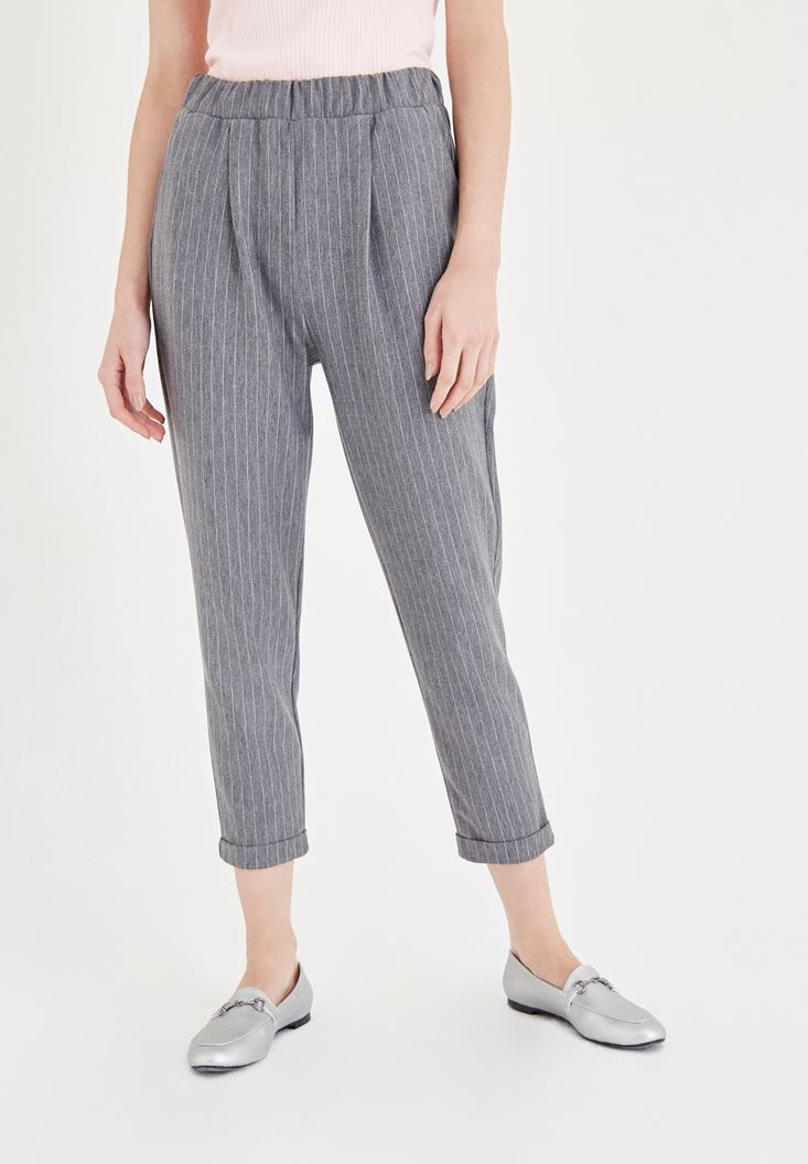 Grey Stripped Jogger Pants