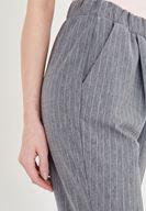 Bayan Gri Çizgili Havuç Pantolon