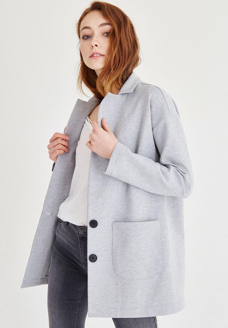 Bayan Gri Düğme Detaylı Blazer Ceket