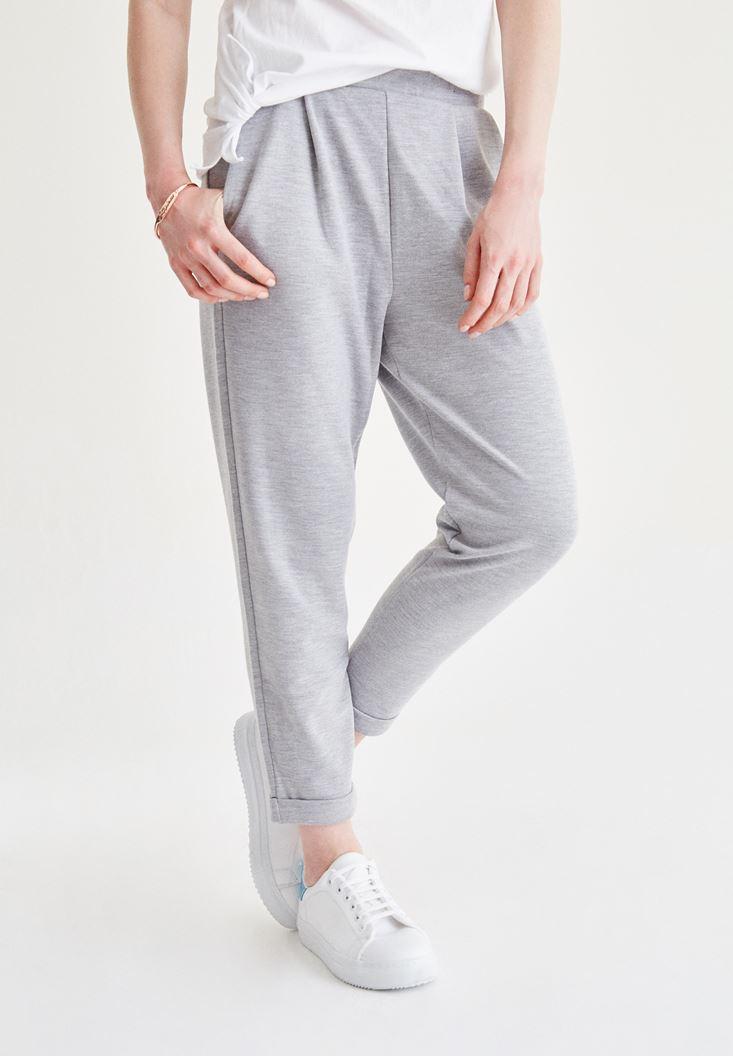 Gri Beli Lastikli Havuç Pantolon