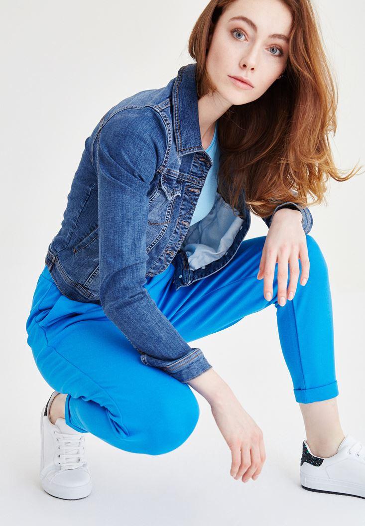 Bayan Mavi Beli Lastikli Havuç Pantolon