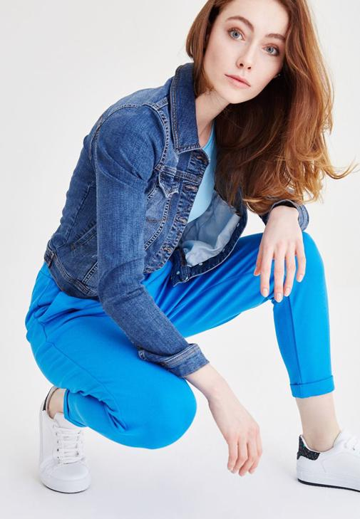 Mavi Beli Lastikli Havuç Pantolon