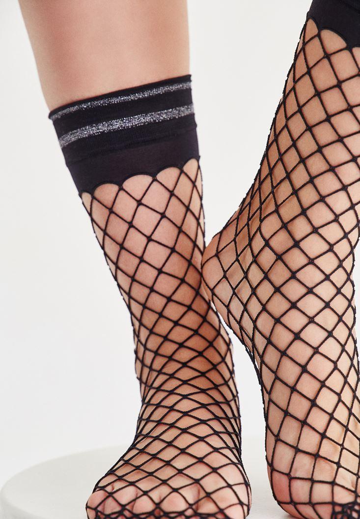 Bayan Siyah File Çorap