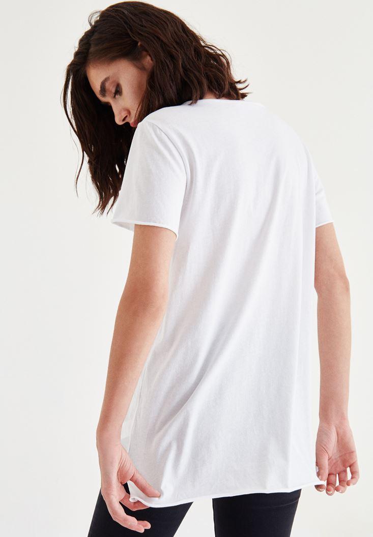 Bayan Beyaz Sloganlı Tişört