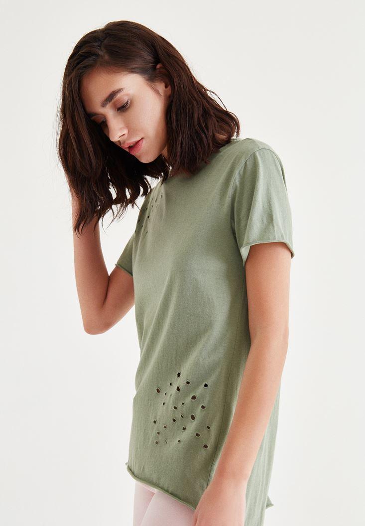 Bayan Yeşil Yırtık Detaylı Tişört