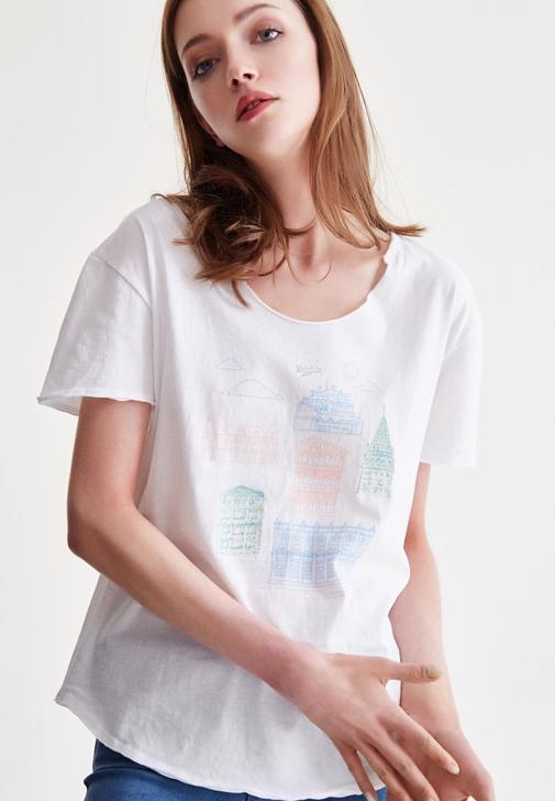 Beyaz İstanbul Baskılı Tişört