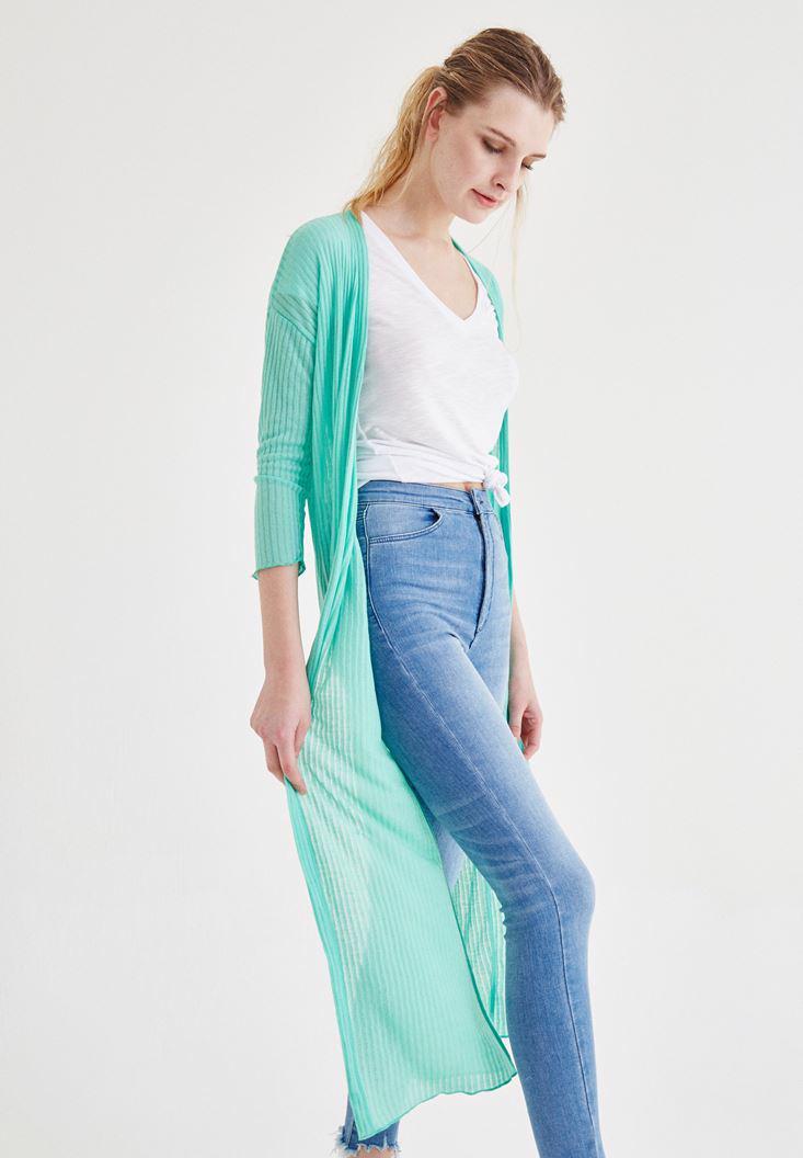 Bayan Yeşil Dokulu Uzun Hırka