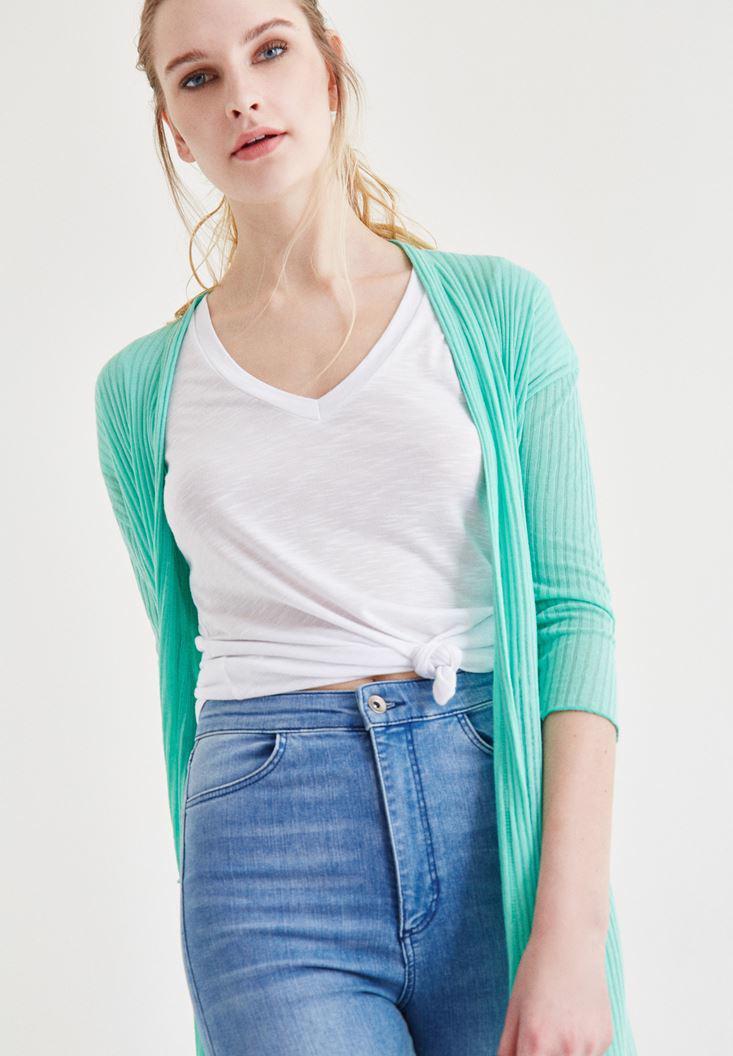 Bayan Yeşil Uzun Hırka