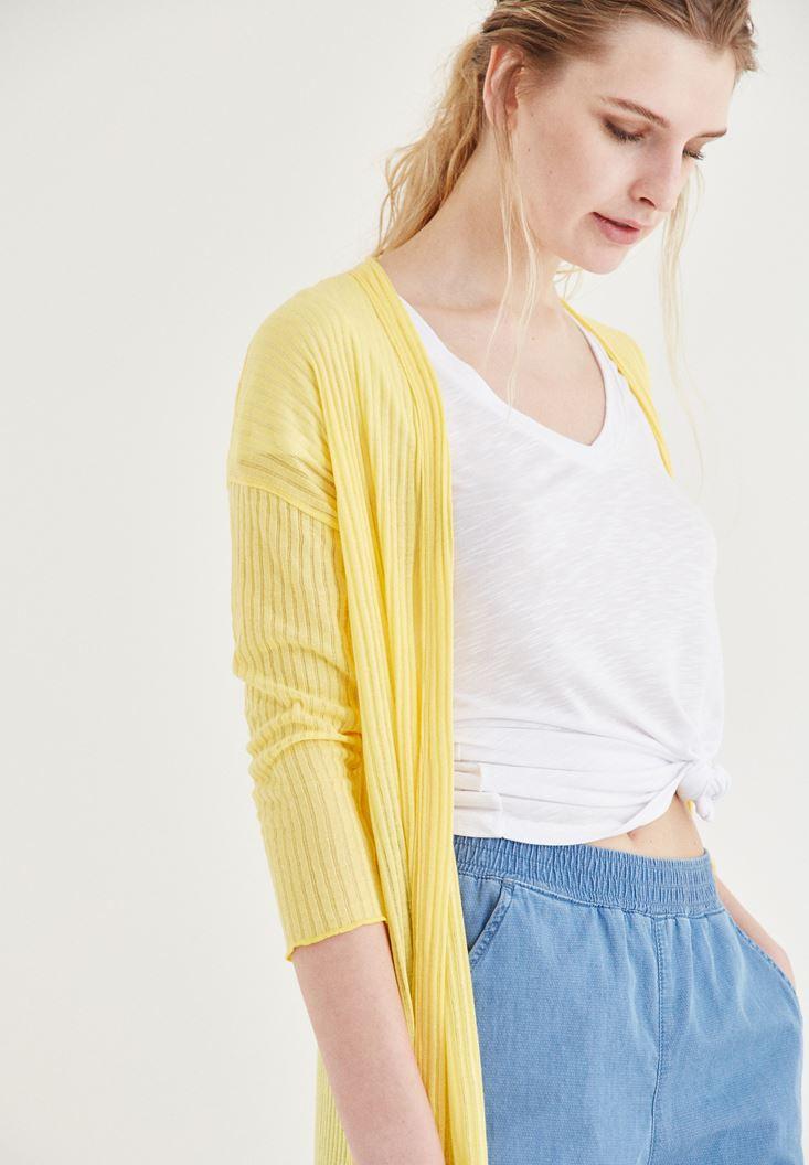 Bayan Sarı Uzun Hırka