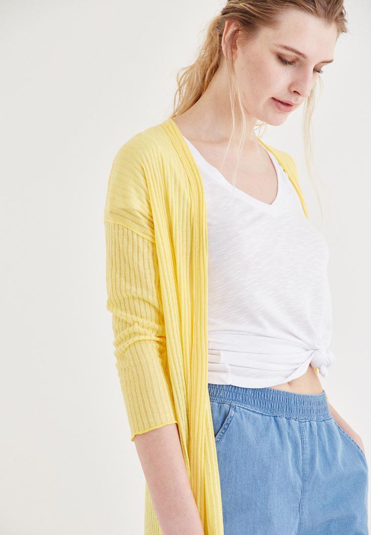 Bayan Sarı Dokulu Uzun Hırka