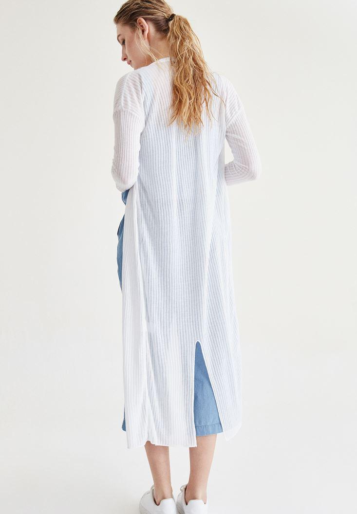 Bayan Beyaz Uzun Hırka
