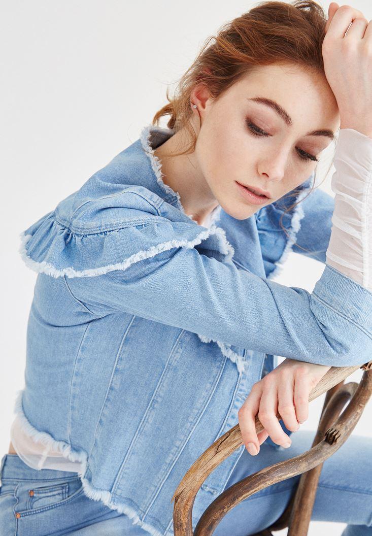 Mavi Fırfır Detaylı Kot Ceket