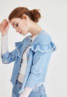 Bayan Mavi Fırfır Detaylı Kot Ceket
