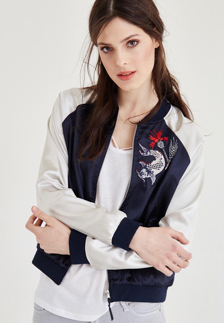 Womens cream bomber jacket