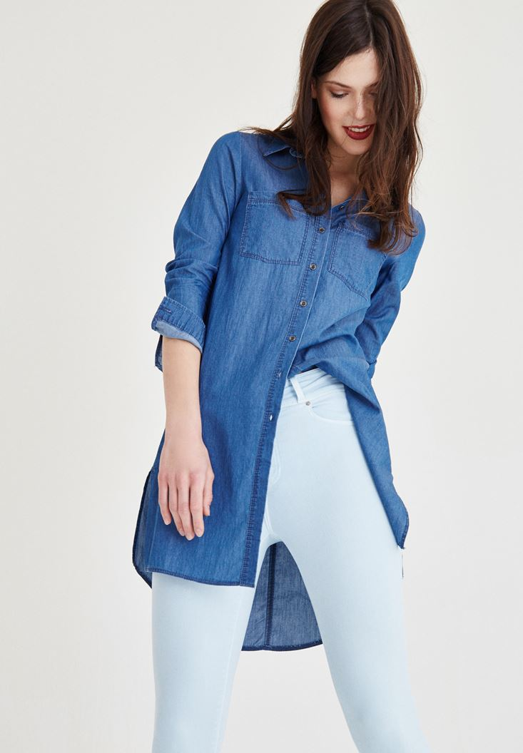 Mavi Uzun Kot Gömlek