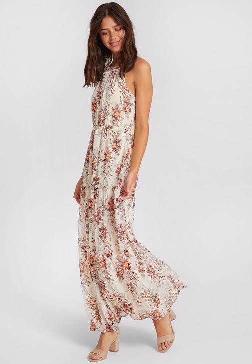 Beyaz Desenli Şifon Elbise