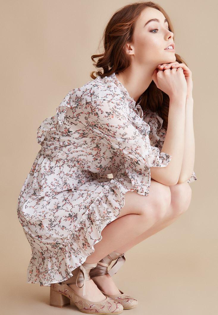 Çok Renkli Volanlı Desenli Elbise