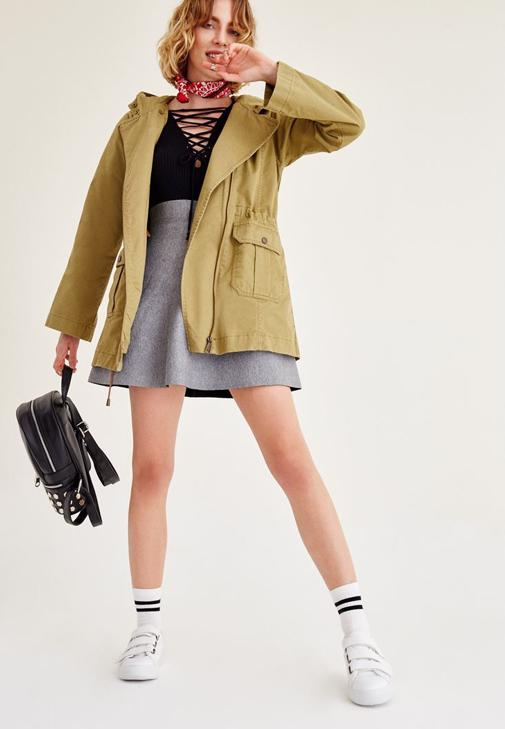 Yeşil Kapüşonlu Ceket