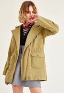 Bayan Yeşil Kapüşonlu Ceket