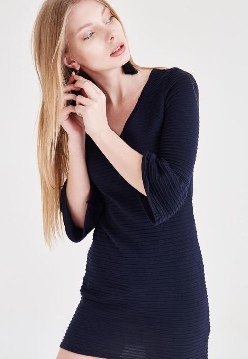 Lacivert Çizgili Elbise