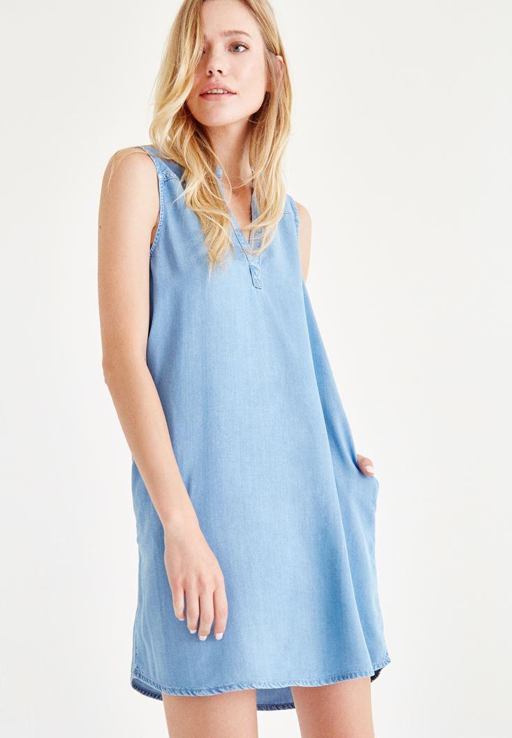 Bayan Mavi Kısa Denim Elbise