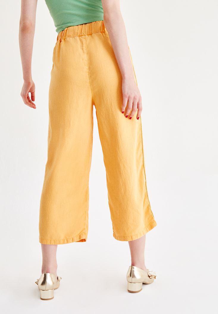 Bayan Turuncu İşlemeli Bol Pantolon