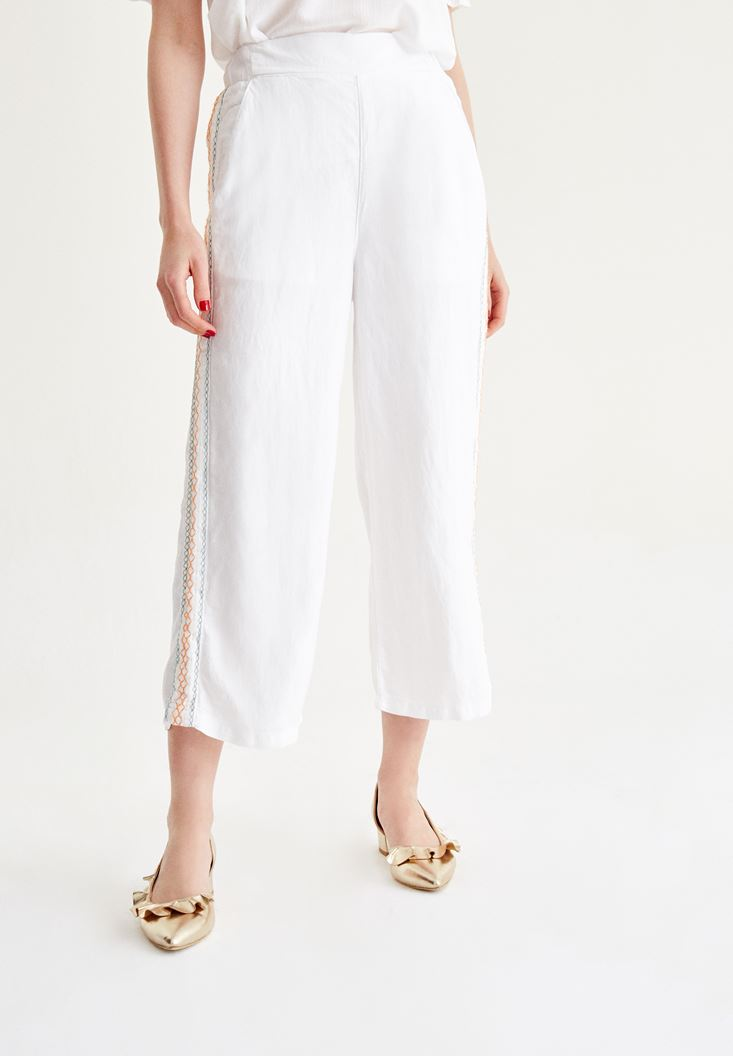 White Pants With Embroidery