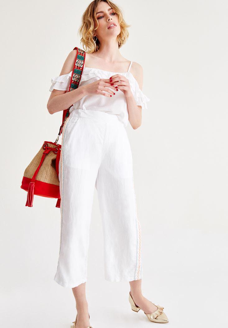 Bayan Beyaz İşlemeli Bol Pantolon