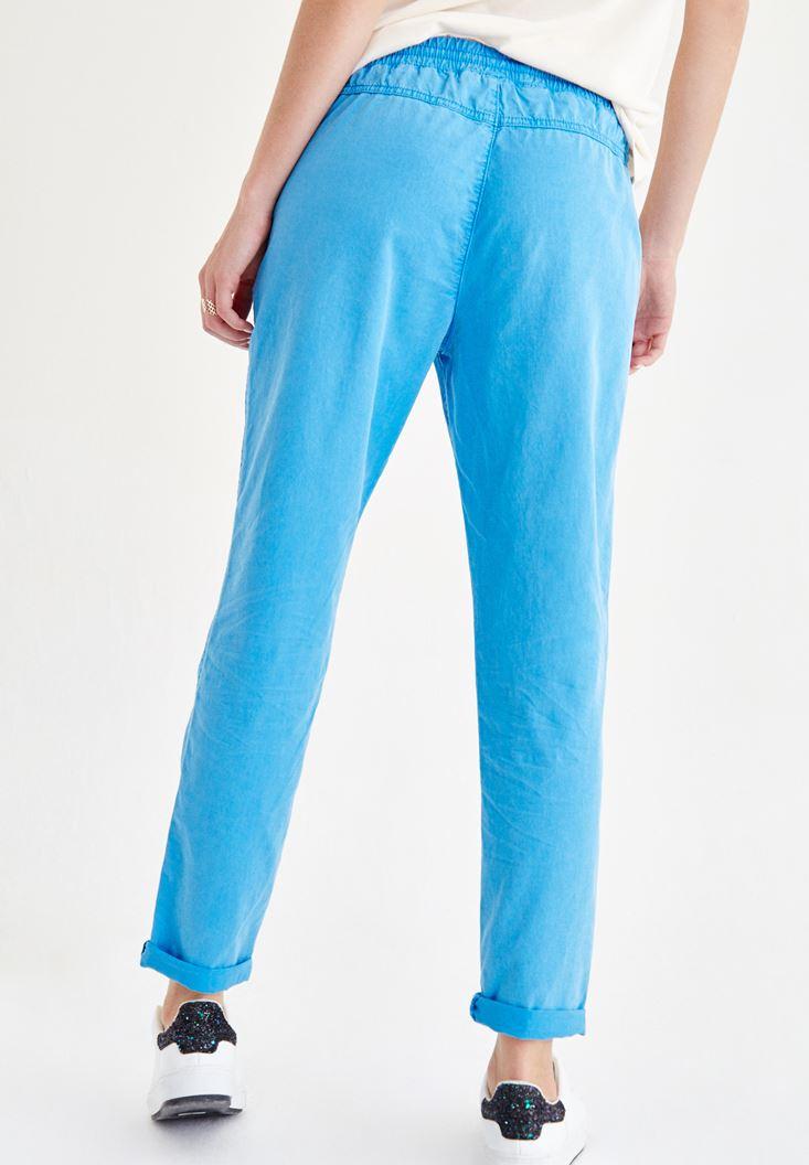 Bayan Mavi Bol Pantolon
