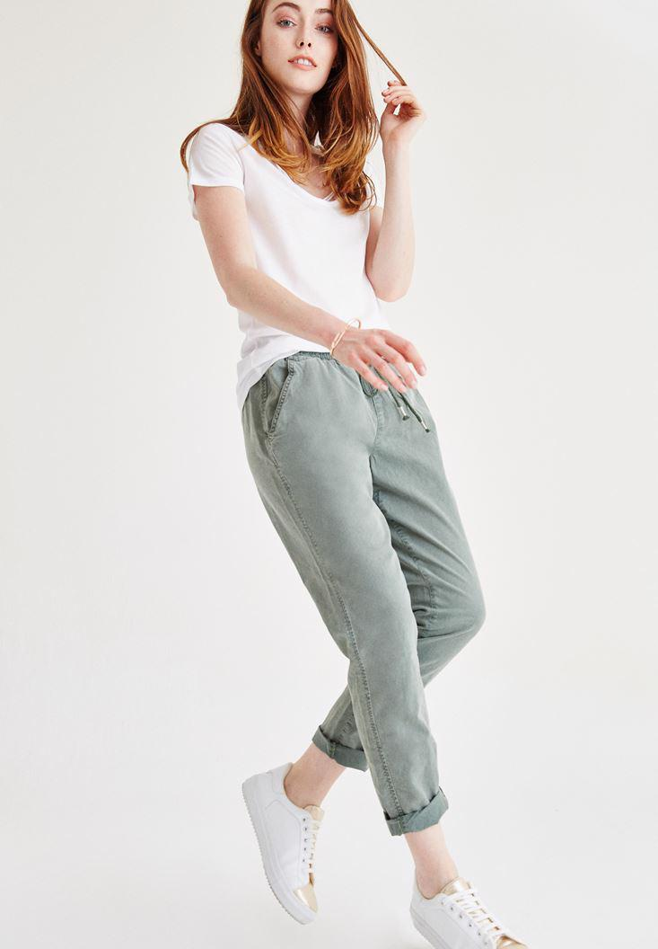 Bayan Yeşil Bol Pantolon