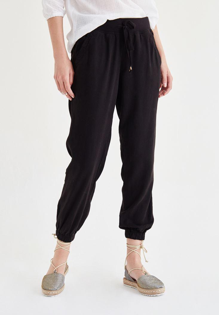 Siyah Beli Lastikli Jogger Pantolon