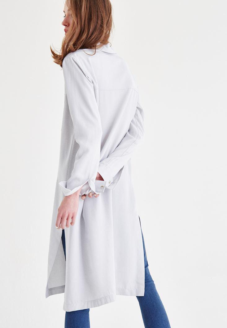 Women Grey Long Shirt