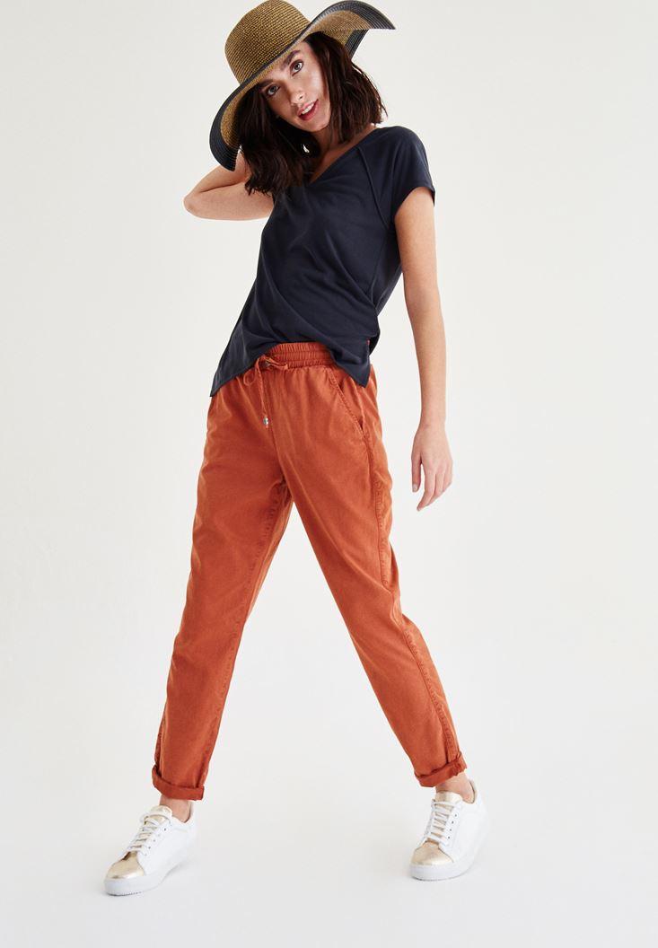 Turuncu Beli Bağcıklı Pantolon