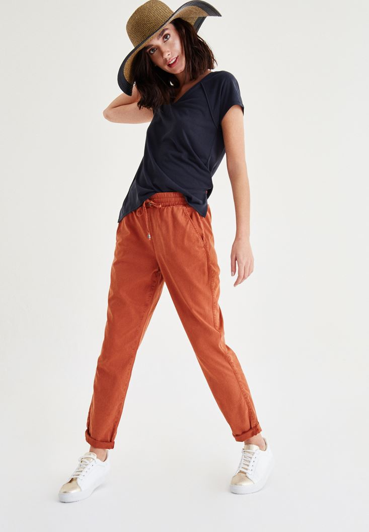 Orange Pants With Laced Waist
