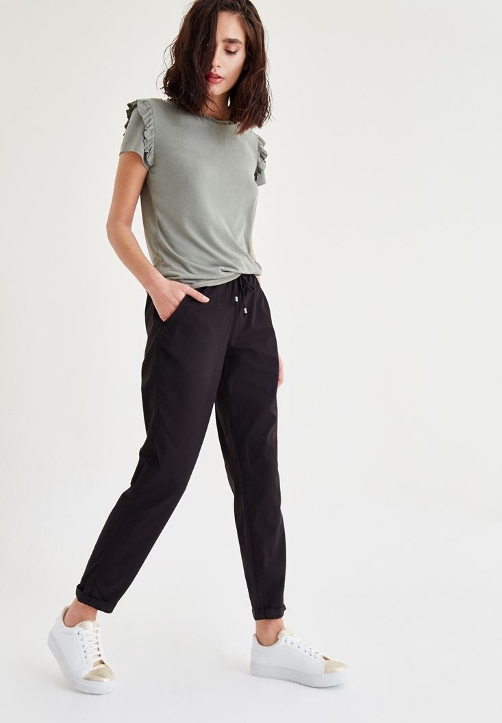 Black Pants With Laced Waist