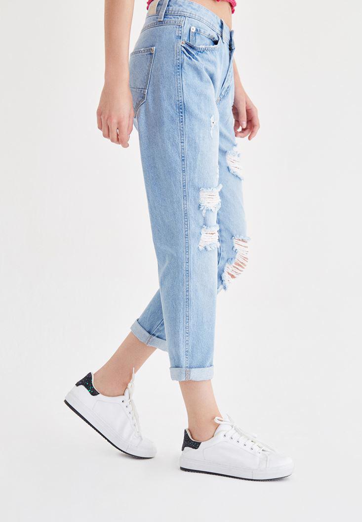 Women Blue Boyfriend Jeans